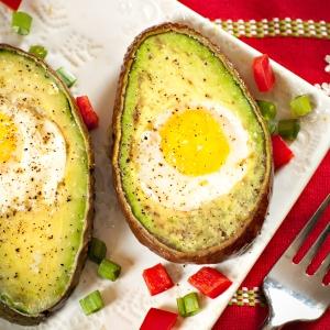 Avocado with eggs. Yum!