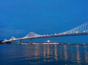 Views of the Bay Bridge at night
