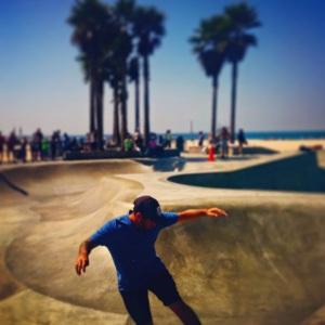 Skater boy at the skate park in Venice Beach